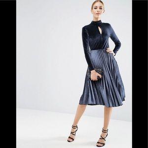 ASOS Velvet High Neck Midi Pleated Dress
